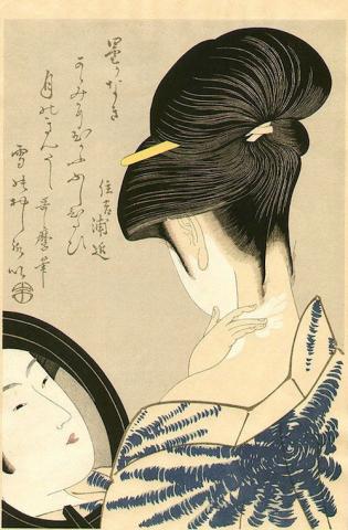 Kitagawa Utamaro, Bellezza che si incipria il collo, c. 1790
