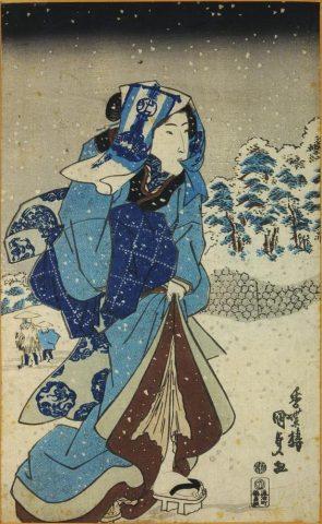Utagawa Kunisada, Ragazza in un paesaggio innevato, ca. 1830-34, National Museums Scotland