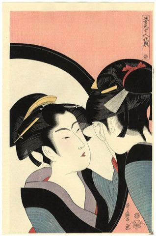 "Kitagawa Utamaro, Okita, serie ""Trucco di sette beltà allo specchio"", 1792-1793, Honolulu Academy of Art"